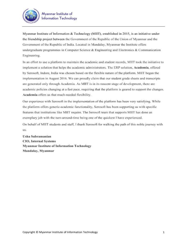 Academia - User Experience-MIIT Myanmar